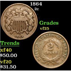 1864 . . Two Cent Piece 2c Grades vf+