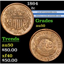 1864 90¡ CW Rotated Die Ultra Rare Rotated Die Two Cent Piece 2c Grades AU, Almost Unc