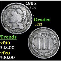 1865 . . Three Cent Copper Nickel 3cn Grades vf+