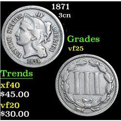 1871 . . Three Cent Copper Nickel 3cn Grades vf+