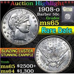 1908-o . Rare Date  Barber Half Dollars 50c Grades GEM Unc