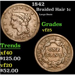 1842 Large Deate . Braided Hair Large Cent 1c Grades vf+