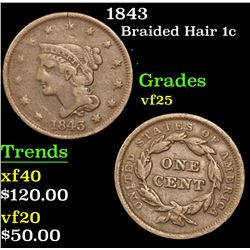 1843 . . Braided Hair Large Cent 1c Grades vf+