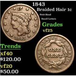 1843 Petit Head Small Letters Braided Hair Large Cent 1c Grades vf+