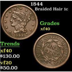 1844 . . Braided Hair Large Cent 1c Grades xf