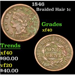 1846 . . Braided Hair Large Cent 1c Grades xf