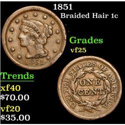 1851 . . Braided Hair Large Cent 1c Grades vf+