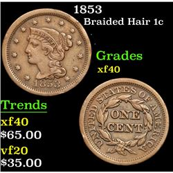 1853 . . Braided Hair Large Cent 1c Grades xf