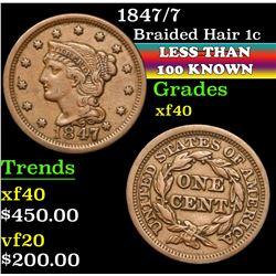 1847/7 . . Braided Hair Large Cent 1c Grades xf