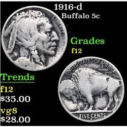 1916-d . . Buffalo Nickel 5c Grades f, fine