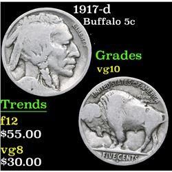 1917-d . . Buffalo Nickel 5c Grades vg+