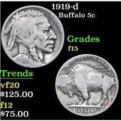 1919-d . . Buffalo Nickel 5c Grades f+