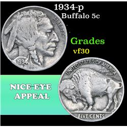 1934-p . . Buffalo Nickel 5c Grades vf++