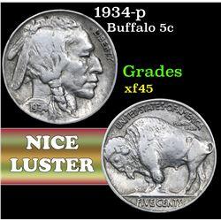 1934-p . . Buffalo Nickel 5c Grades xf+