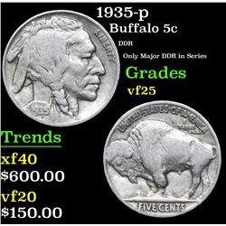 1935-p DDR Only Major DDR in Series Buffalo Nickel 5c Grades vf+