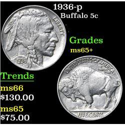 1936-p . . Buffalo Nickel 5c Grades GEM+ Unc