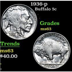 1936-p . . Buffalo Nickel 5c Grades Select Unc