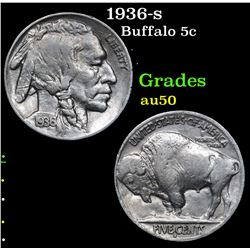 1936-s . . Buffalo Nickel 5c Grades AU, Almost Unc