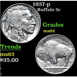 1937-p . . Buffalo Nickel 5c Grades Select Unc