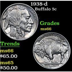 1938-d . . Buffalo Nickel 5c Grades GEM+ Unc