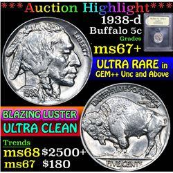 1938-d . . Buffalo Nickel 5c Grades Gem++