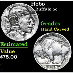 Hobo . . Buffalo Nickel 5c Hand Carved