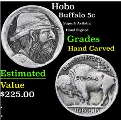 Hobo Supurb Artistry Hand Signed Buffalo Nickel 5c Grades Hand Carved