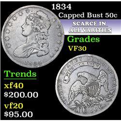 1834 . . Capped Bust Half Dollar 50c Grades vf++