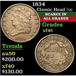 1834 . . Classic Head half cent 1/2c Grades xf+