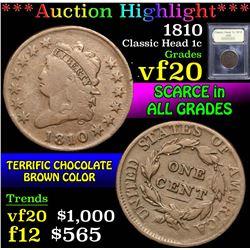 1810 . . Classic Head Large Cent 1c Grades vf, very fine