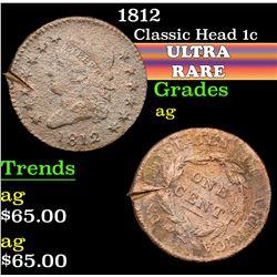 1812 . . Classic Head Large Cent 1c Grades ag