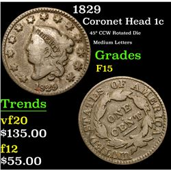 1829 45¡ CCW Rotated Die Medium Letters Coronet Head Large Cent 1c Grades f+