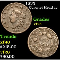 1832 . . Coronet Head Large Cent 1c Grades vf+
