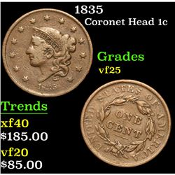 1835 . . Coronet Head Large Cent 1c Grades vf+