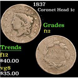 1837 . . Coronet Head Large Cent 1c Grades f, fine