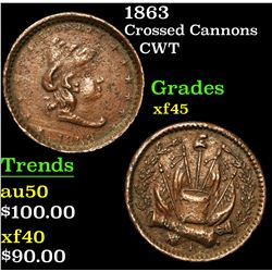 1863 Crossed Cannons . . Civil War Token 1c Grades xf+