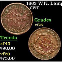 1863 W.K. Lamphear . . Civil War Token 1c Grades vf+
