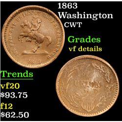 1863 Washington . . Civil War Token 1c Grades vf details