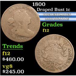 1800 . . Draped Bust Large Cent 1c Grades f, fine