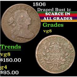 1806 . . Draped Bust Large Cent 1c Grades vg, very good