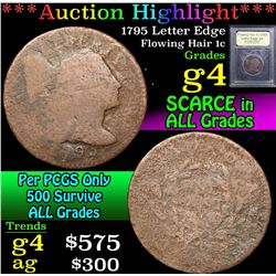 ***Auction Highlight*** 1795 Letter Edge . . Flowing Hair large cent 1c Graded g, good By USCG (fc)
