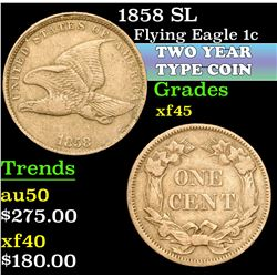 1858 SL . . Flying Eagle Cent 1c Grades xf+