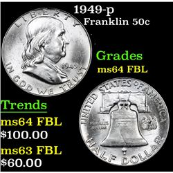 1949-p . . Franklin Half Dollar 50c Grades Choice Unc FBL