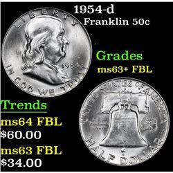 1954-d . . Franklin Half Dollar 50c Grades Select Unc+ FBL
