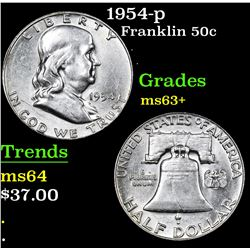 1954-p . . Franklin Half Dollar 50c Grades Select+ Unc