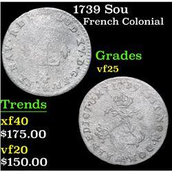 1739 Sou . . French colonial 2 Sou Grades vf+