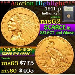 1911-p . . Gold Indian Quarter Eagle $2 1/2 Grades Select Unc