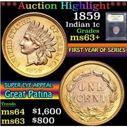 ***Auction Highlight*** 1859 . . Indian Cent 1c Graded Select+ Unc By USCG (fc)