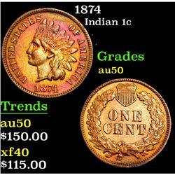 1874 . . Indian Cent 1c Grades AU, Almost Unc