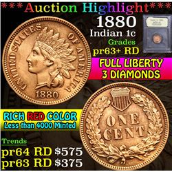 ***Auction Highlight*** 1880 . . Indian Cent 1c Graded Choice Proof Red By USCG (fc)